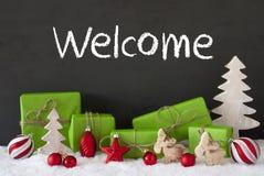 Kerstmisdecoratie, Cement, Sneeuw, Tekstonthaal Stock Afbeeldingen