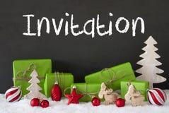 Kerstmisdecoratie, Cement, Sneeuw, Tekstuitnodiging Royalty-vrije Stock Foto