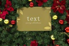 Kerstmisdecoratie, de kaart van de Kerstmisgroet, de raad van het Kerstmisbericht, Kerstmisachtergrond, Stock Foto's