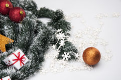 Kerstmisdecoratie en de winterthema Stock Afbeelding