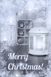 Kerstmisdecoratie en kaarsen met tekst Royalty-vrije Stock Fotografie