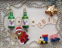 Kerstmisdecoratie en symbool van het jaar 2019 royalty-vrije stock afbeeldingen