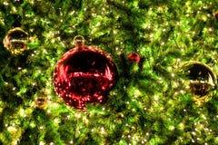 Kerstmisdecoratie en verlichting op takkenkerstmis tre royalty-vrije stock afbeelding