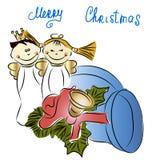 Kerstmisdecoratie - engelen, klokken vector illustratie