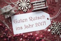 Kerstmisdecoratie, Etiket met Guten Rutsch 2017 Middelennieuwjaar Stock Afbeeldingen