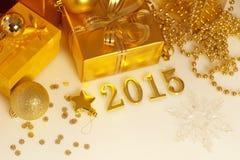 Kerstmisdecoratie, giften en cijfers Stock Foto