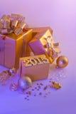 Kerstmisdecoratie, giften en cijfers Royalty-vrije Stock Fotografie