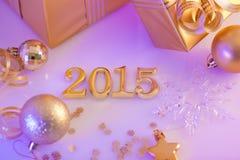 Kerstmisdecoratie, giften en cijfers Stock Fotografie