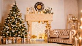 Kerstmisdecoratie in goud Royalty-vrije Stock Afbeelding