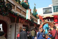 Kerstmisdecoratie in Harbout-Stad Stock Afbeeldingen