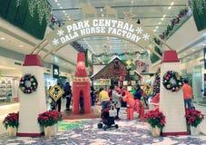 Kerstmisdecoratie in het Plein van Tseug Kwan O Stock Afbeelding