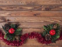 Kerstmisdecoratie, houten raad Royalty-vrije Stock Foto