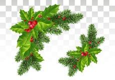 Kerstmisdecoratie: Kerstboomtakken en hulst met rode bessen Feestelijke samenstelling Geïsoleerde Eps10 Vector vector illustratie