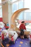 Kerstmisdecoratie in Megadooswinkelcomplex Royalty-vrije Stock Foto's