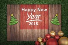 Kerstmisdecoratie met bericht van Gelukkig Nieuwjaar 2018 op hout Royalty-vrije Stock Foto's