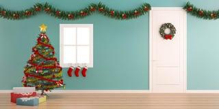 Kerstmisdecoratie met de achtergrond van binnenlands-X'mas van de giftdoos vector illustratie