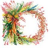 Kerstmisdecoratie met de takken van de pijnboomboom, bessen, klokken en linten, cirkel, voor groetkaart Royalty-vrije Stock Foto