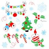 Kerstmisdecoratie met een gestileerde Kerstmisboom stock illustratie