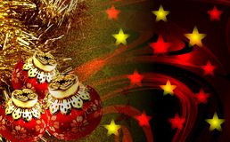 Kerstmisdecoratie met geweven achtergrond stock afbeeldingen