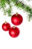 Kerstmisdecoratie met groene pijnboom of spar en rode roudbal of Stock Foto