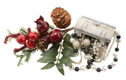 Kerstmisdecoratie met juwelen Stock Afbeeldingen