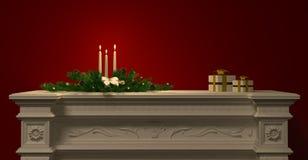 Kerstmisdecoratie met kaarsen op open haard het 3d teruggeven Royalty-vrije Stock Fotografie