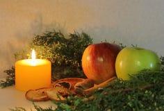 Kerstmisdecoratie met kaarsenappelen en pijnbomen Royalty-vrije Stock Afbeelding