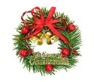 Kerstmisdecoratie met klokken op witte achtergrond worden geïsoleerd die Royalty-vrije Stock Fotografie