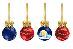 Kerstmisdecoratie met lint Royalty-vrije Stock Afbeelding