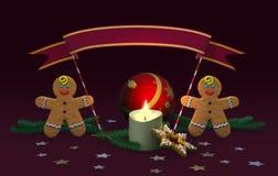 Kerstmisdecoratie met peperkoekmensen Stock Foto