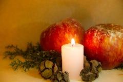 Kerstmisdecoratie met rode van de appelenpijnboom en kaars ananassen op houten achtergrond Royalty-vrije Stock Foto