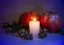Kerstmisdecoratie met rode van de appelenpijnboom en kaars ananassen op houten achtergrond Royalty-vrije Stock Foto's