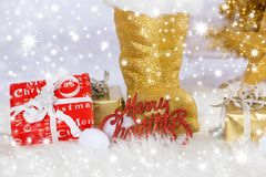 Kerstmisdecoratie met santalaars Stock Foto