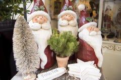 Kerstmisdecoratie met Santas Stock Foto