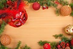 Kerstmisdecoratie met spar, de maskerade van het glamourmasker voor stock afbeelding