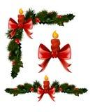 Kerstmisdecoratie met spar en decoratieve elementen royalty-vrije illustratie