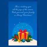 Kerstmisdecoratie met Spar en Gift vakantie Royalty-vrije Stock Afbeeldingen