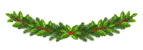 Kerstmisdecoratie met spar, hulst, bessen en decorat stock illustratie