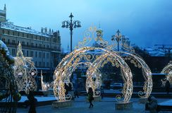 Kerstmisdecoratie met verlichting in het close-up van Moskou stock fotografie