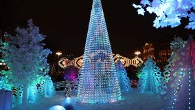 Kerstmisdecoratie in Moskou stock footage