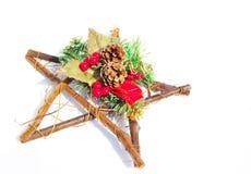 Kerstmisdecoratie Mouned op Houten Ster Royalty-vrije Stock Fotografie