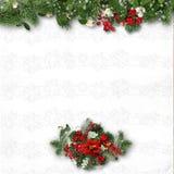 Kerstmisdecoratie op een witte geweven achtergrond kaart voor c Stock Foto's