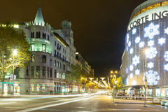 Kerstmisdecoratie op het Vierkant van Catalonië. Barcelona, Spanje Royalty-vrije Stock Foto
