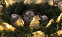 Kerstmisdecoratie op houten rustieke achtergrond royalty-vrije stock foto