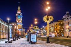 Kerstmisdecoratie op Nevsky-Vooruitzicht royalty-vrije stock afbeelding