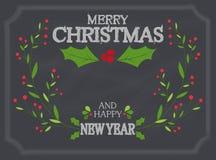 Kerstmisdecoratie op schoolbord Royalty-vrije Stock Fotografie