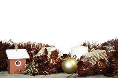 Kerstmisdecoratie op witte achtergrond Royalty-vrije Stock Fotografie
