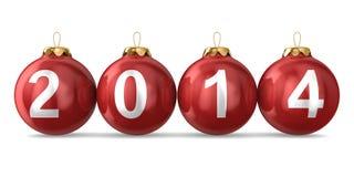 Kerstmisdecoratie op witte achtergrond. het jaar van 2014 Stock Afbeeldingen