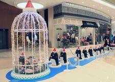 Kerstmisdecoratie in Popcornwinkelcomplex Stock Afbeeldingen