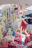 Kerstmisdecoratie in Popcornwinkelcomplex Stock Foto